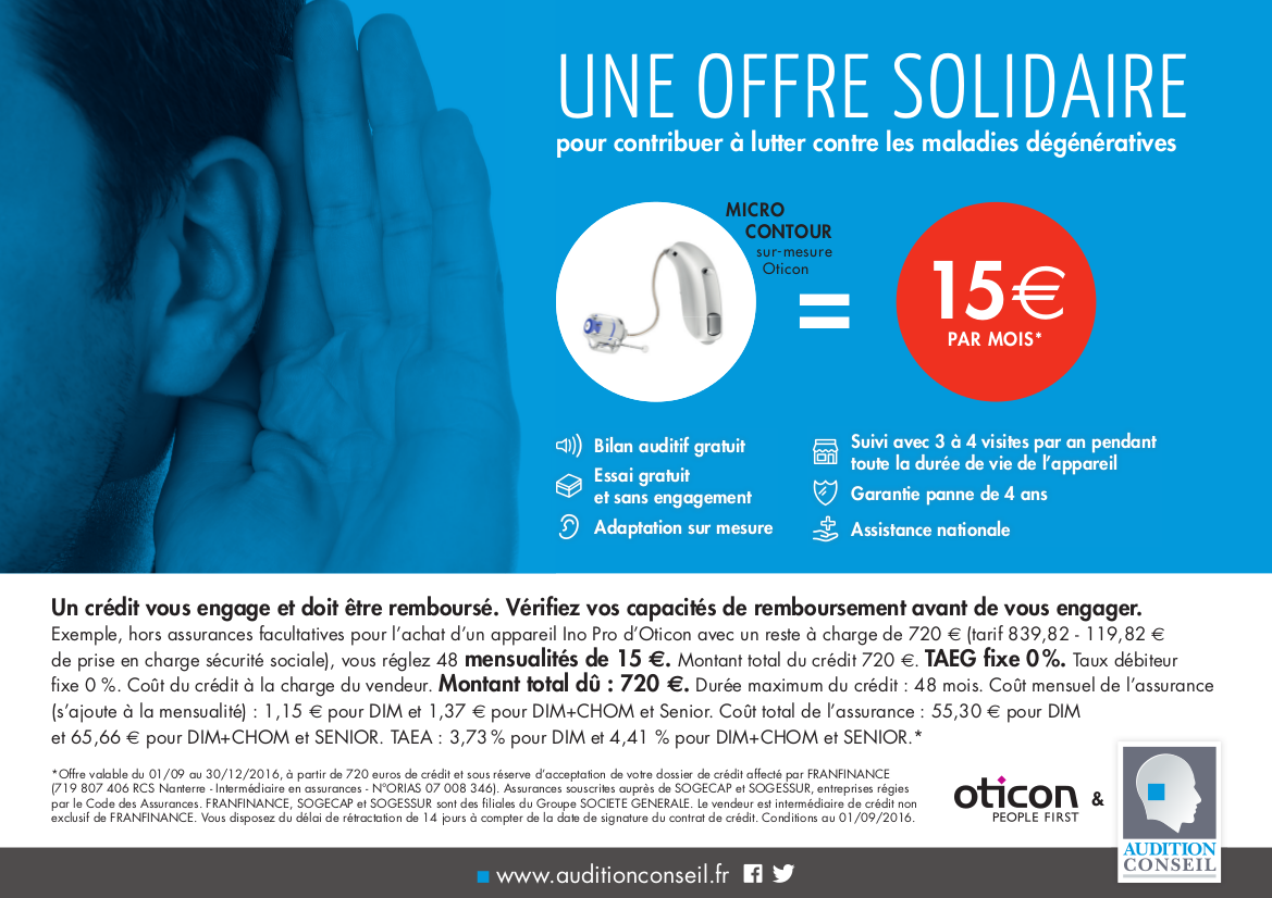 Offre Solidaire Oticon Audition Conseil