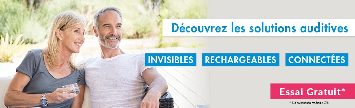 Essayez gratuitement des solutions auditives invisibles, rechargeables et connectées avec vos audioprothésistes Audition Conseil