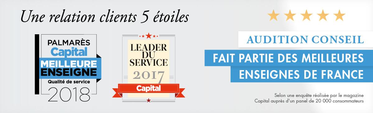 """AUDITION CONSEIL a été élu """"Meilleure enseigne 2018"""" par le sondage du magazine Capital concernant la qualité des services"""