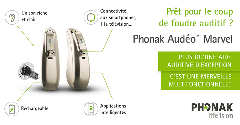 Les aides auditives Audéo Marvel de Phonak sont disponibles chez vos audioprothésistes Audition Conseil