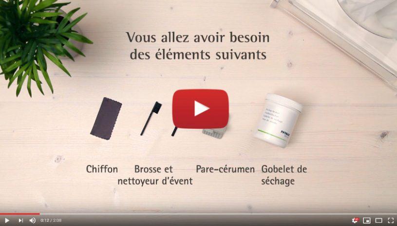 Tutoriel vidéo pour nettoyer vos aides auditives sur-mesures de la marque Phonak