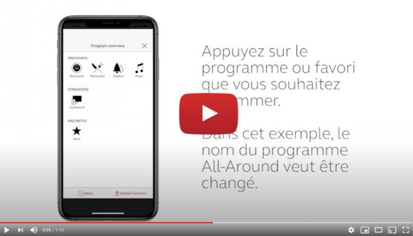 """Vidéo """"ReSound Smart 3D - Comment modifier le nom d'un programme ou d'un Favori"""" de la marque RESOUND"""